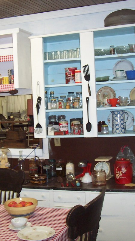 A display of a 1940's kitchen