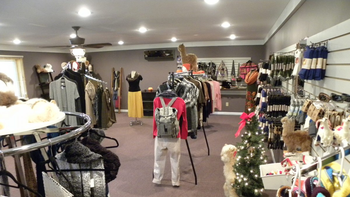 Inside the store at Cozy Cabin Alpaca Farm